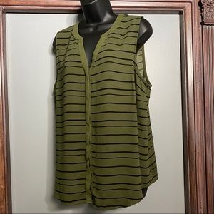Apt. 9 Women's Top Olive Green w/Black Stripes XL